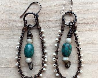 Boho Jewelry- Gypsy Dangle Earrings, Tribal teardrop earrings, wire wrapped bone beads, Rustic Bride, primitive, turquoise blue, oxidized