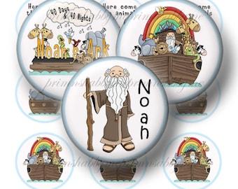Noah's Ark, Bottle Cap Images, Digital Collage Sheet, Instant Download, 1 Inch Circles, Bible Story, Christian, Religious, Bottle Cap Images