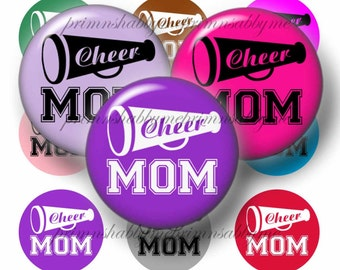 Cheer Mom, Bottle Cap Images, 1 Inch Circles, Digital Collage Sheet, Instant Download (No.1) Cheerleader, For Pendants, Bow Centers, Crafts