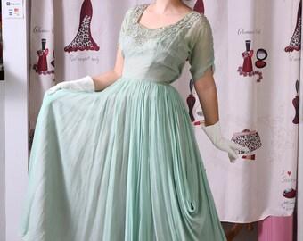 Vintage 1940's FRANK STARR Silk Beaded Mint Gown Prom Bridal Dress Size Medium
