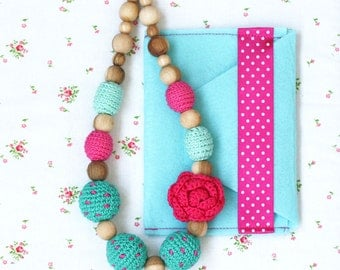 Nursing necklace with flower Pink and turquoise Dotted jewelry Bright chunky statement Babywearing accessory Mother's Day gift for her