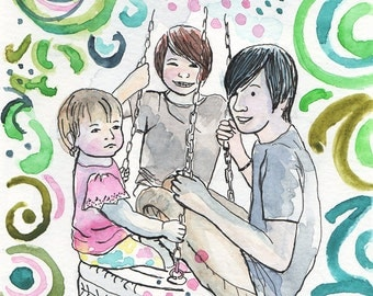 Watercolor family portrait. Custom painting portrait illustration. Family portrait. Custom portrait painting. Family painting