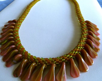 "Beaded Kumihimo necklace with rose/olivine duckbill paddle beads, statement necklace, ""Tropical Forest"""
