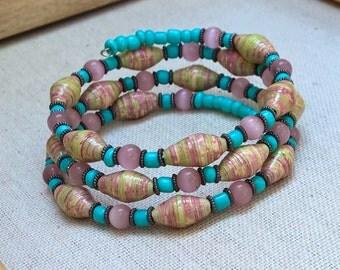 Paper bead memory wire bracelet ~ pastel pink, green, ivory & aqua ~ cat's eye