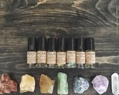 CHAKRA OIL SET, crystal infused oils- vegan, cruelty-free