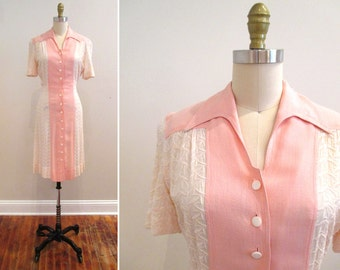 Vintage 1940s Dress | Pale Pink Linen 1940s Day Dress with Glass Buttons | xs - small