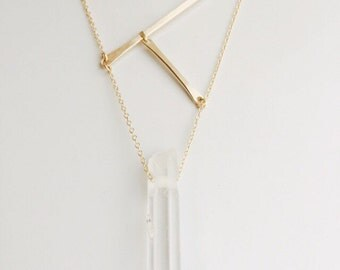 Bar Necklace Simple Gold Necklace Gold Geometric Necklace Gold Bar Necklace Quartz Necklace Statement Necklace