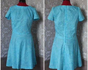 Vintage 1960's 70's Blue Paisley Mini Dress M/L