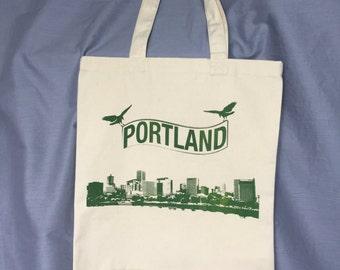 Portland Tote, Crow, Bird, Skyline, Grocery Bag, Shopping Bag, Reusable Bag