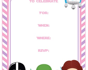 Star Wars Birthday 5x7 Invitation, Star Wars Birthday,Pink and Purple, Instant Download,Printable