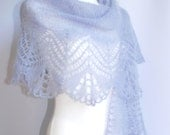 Lavender blue hand knitted mohair lace wedding shawl, stole, scarf Made to order