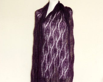 Purple hand knit lace shawl with glass beads, Plum luxury evening stole