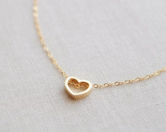 Heart Outline Necklace, Open Heart Charm, Silver or Gold Love Necklace - 1333