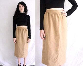 Tan Khaki Brown Wool Blend Midi Skirt (Small)