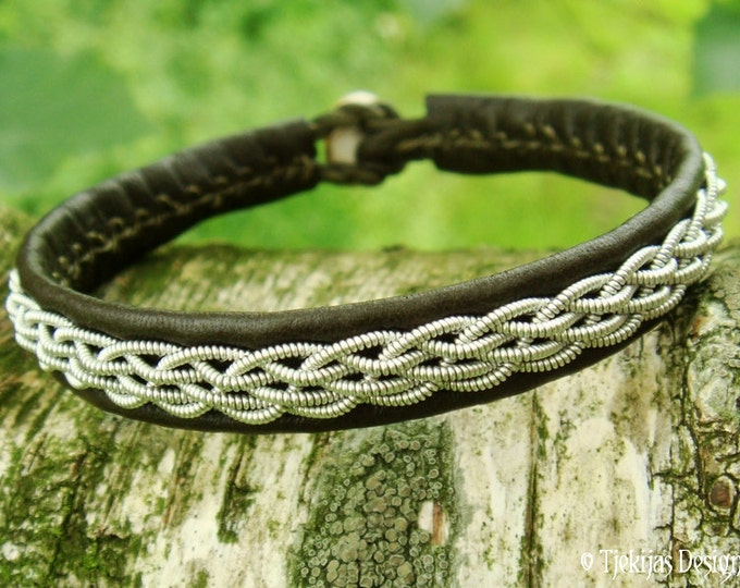 Norse Viking Sami Bracelet DAIN Custom Handmade Unisex Leather Wristband in Olive Army Green with Pewter Braid and Antler Closure