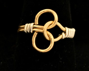 PUZZLE RING unisex design..  sterling silver and 14K gold filled.  4 color choices