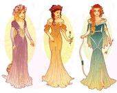 Full Set Princesses Mucha Style CROSS STITCH PATTERNS Rapunzel, Belle, Merida, Original Art by Hannah Alexander