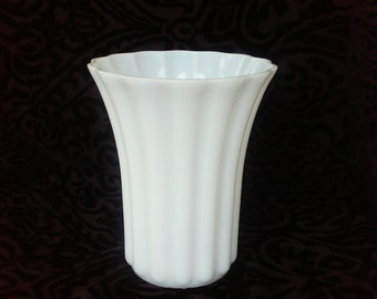 Vintage Milk Glass Tall Ribbed Vase with Fluted Opening Great for Wedding Decor or Home Decor Centerpiece