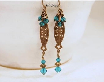 Victorian Style Earrings, Brass, Swarovski Crystals, Turquoise Crystal Dangle Pierced Earrings. OOAK Handmade Earrings. CKDesigns.us