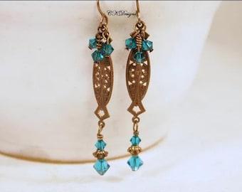 SALE Victorian Style Earrings, Brass, Swarovski Crystals, Turquoise Crystal Dangle Pierced Earrings. OOAK Handmade Earrings. CKDesigns.us