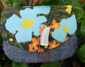 Sunshiney Flower Wallet, Vintage and Organic Fabric Wallet
