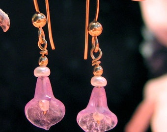 Carved amethyst and pearl earrings