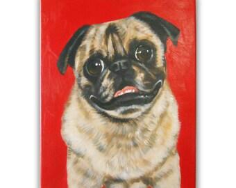 "11x14x0.75"" Custom Dog Portrait / Custom Pet Portrait / Custom Portrait 1 Pet Close-Up Solid background Original Painting Pet Memorial Pug"