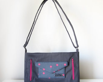 Cross Body Bag for Women with Pockets, Zip and Adjustable Strap in Grey and Pink