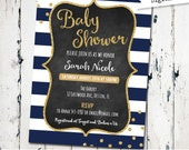 Navy and Gold baby Shower Invitation, Printable baby Shower Invite, gender neutral, navy stripes, confetti, Glitter (JPD315)