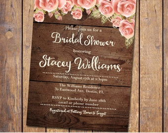 Rustic Bridal Shower Invite, Invitation with flowers, wood, bridal shower invites, Rustic Wood Wedding, country, digital, printable (JPD316)