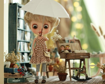 Miss yo 2015 Summer & Autumn - Mori Style Inner Dress for Blythe doll - dress / outfit - Light Brown Dotties