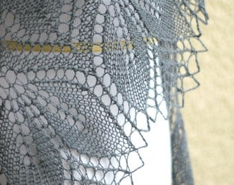 Knit shawl, wedding shawl, bridesmaids shawl in grey gray color lace scarf knitted wrap gift for her