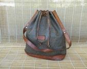 Vintage Lady's Dark Brown And Light Brown Hand Bag Drawstring Bucket Bag Purse