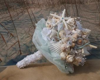 2015 Aqua/ I Do Beach Bouquet / Pearl Spray / Seashell Bouquet / Ocean Bouquet / Beach Bouquet / Summer Bouquet /  Made to Order