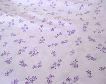 """Vintage Fabric - Purple Flowers on Lavender - By the Yard x 44""""W -  1970's - Retro Sewing Material - Craft Supply"""