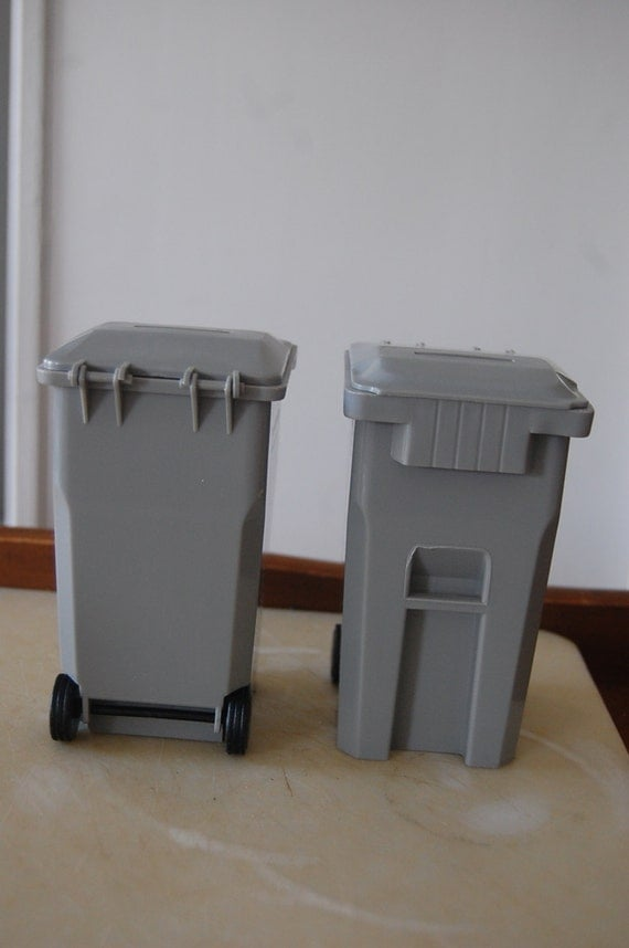Mini Trash Can Recycling Curbside Bins Coin Bank Pencil Holder