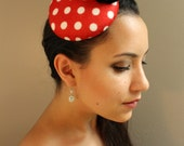 Pin-Up Style, Red & White Polka Dot Felt Fascinator Cocktail Hat - Womens Headpiece