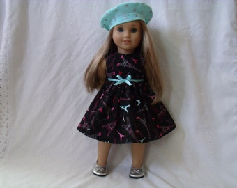 18 Inch Doll-American Girl Dress: Eiffel Tower Party Paris dress for Grace with or without beret