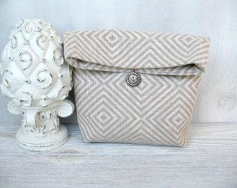 Linen Clutch /  Initial Charm Handbag / Linen Bag / Cosmetic Pouch / Gifts / Purse / Travel Organizer / Evening Bag