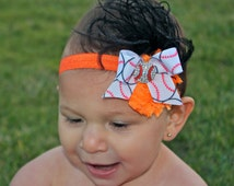 Baseball Headband- SF Giants Baby Headband - Baseball Hair Bow- Pick Team Colors