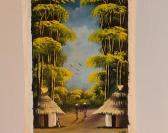 Vintage African Art - 'Village and Canopy' - 70s Zambian Folk Art - Vibrant Home Decor