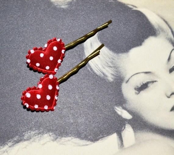 Heart Bobby Pins, Polka Dot Hair Grips, Red Heart Hair Slides, Rockabilly Hair Accessories, Red Bobby Pins, Dotty Hair Pins, Red Polka Dot