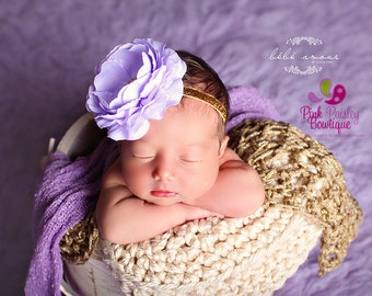 Lavendar and Gold Baby Headband - Lavendar 1st Birthday - Baby Hairbow - Purple & Gold Bows - Gold Bows - headband baby -Baby bows Sparkle