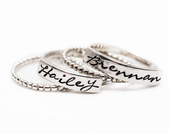 Stacking name ring - Stackable Name Rings - Mother's Day -Trendy Sterling Silver Stacking Rings-  Mother's Day Gift idea - The Charmed Wife