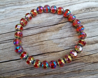 Stretch Bracelet Red Cathedral Beads 8mm Glass