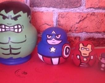 Marvel Avengers 5 piece nesting doll set. Handmade