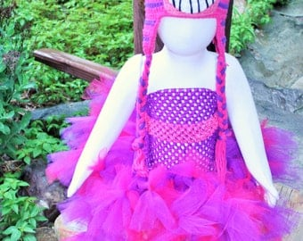 Pink and Purple Cheshire Cat Halloween Girls Tutu Costume Included Accessories Tail and Crochet Hat