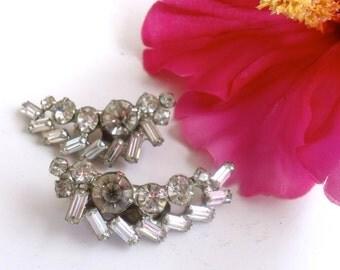 Rhinestone Ear Climber Clip On Earrings Vintage Bridal Style Jewelry