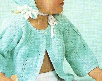 INSTANT DOWNLOAD, Vintage Pattern, Baby Feather Stitch   Sweater (Sacque) and Bonnet ,   knitting pattern,  PDF pattern