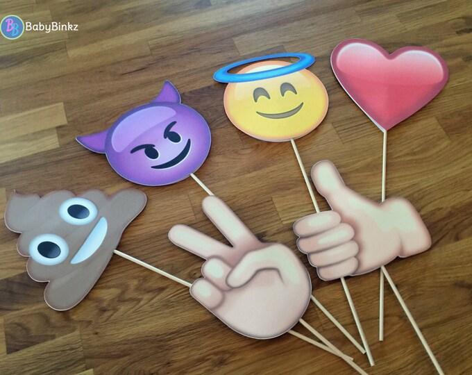 Photo Props: The Emoji Set (6 Pieces) - party wedding birthday decoration twitter instagram social media iPhone app icon stick centerpiece